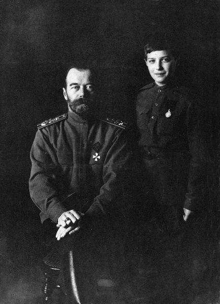 Photographic portrait of Tsar Nicholas II (1868-1918) and his son Tserarevich Alexei (1904-1918) of Russia, pictured c.1914