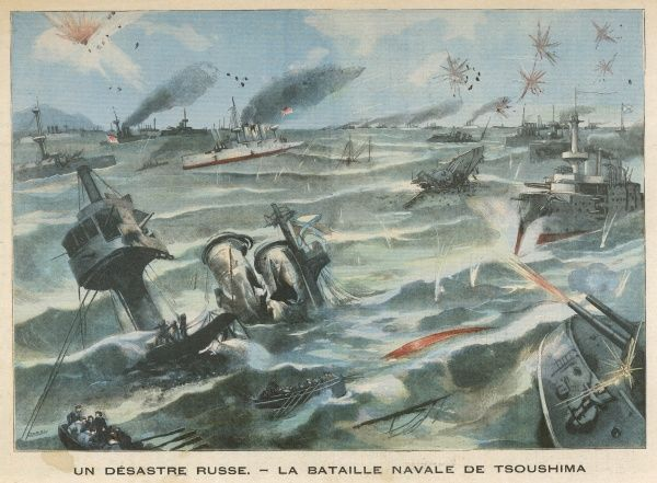 BATTLE OF TSUSHIMA STRAIT Togo loses only three torpedo boats while destroying or capturing most of the Russian fleet - 'the greatest naval battle since Trafalgar&#39