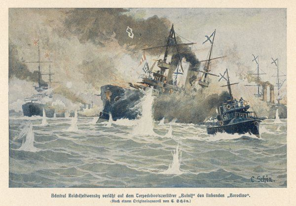 BATTLE OF TSUSHIMA STRAIT Russian admiral Rozhdestvensky transfers from the sinking 'Borodino' to the torpedo boat 'Buinis', just part of the overwhelming Russian defeat