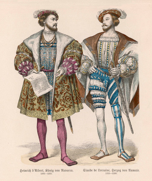 Two French noblemen. Note the low cut doublets which reveal the shirts which are drawn tight at the neck - a fore-runner of the ruff, also the 'duck-bill' shoes