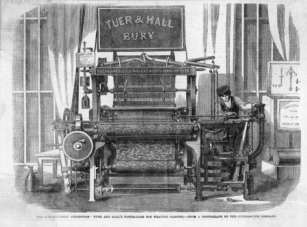 Tuer and Hall's Power-Loom for weaving carpets. (Exhibited at the 1862 Exhibition, London)