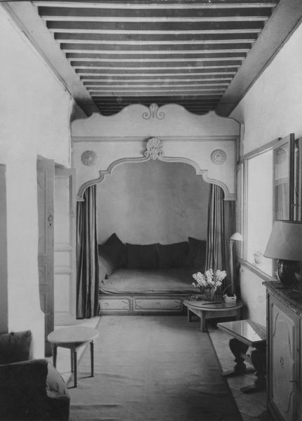 Interior of one of the rooms of the house belonging to Hassan Kaddour, Tunis, Tunisia, North Africa. Date: 1930s