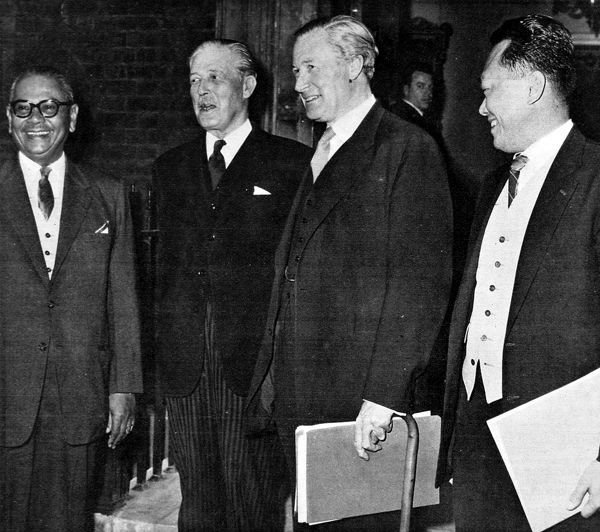 Photograph showing (left to right): Tunku Abdul Rahman, Prime Minister of the Federation of Malaya; Harold Macmillan, Prime Minister of Great Britain; Duncan Sandys, British Secretary of State for Commonwealth Relations and the Colonies; Lee Kuan Yew