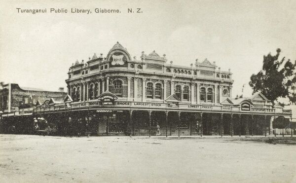 Turanganui Public Library, Gisborne, New Zealand, sitting on top of a huge lower-level Shoe Shop (R Hannah & Co. Ltd.) Date: circa 1910s