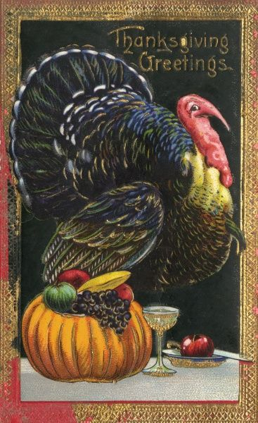 Turkey, pumpkin, food and drink - symbols of Thanksgiving (4th Thursday in November) Date: circa 1910