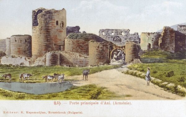 Turkey - The Main Gate and the city Walls of Ani (formerly in Armenia) Date: circa 1910s