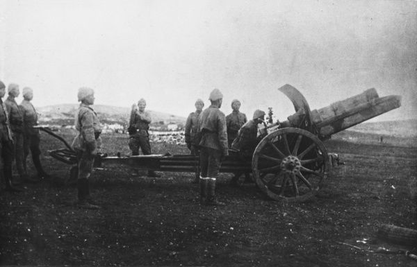 Turkish Krupp 15cm Model 13 howitzer during World War I