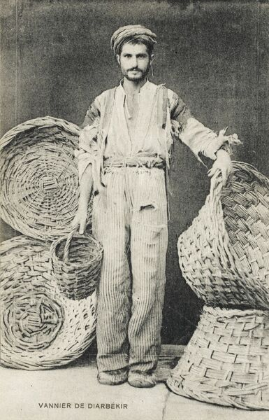 Basketmaker from Diarbekir, Turkey. Largest town in the Kurdistan Highlands on the Tigris - 194 miles notheast of Aleppo on highway between Baghdad and Constantinople