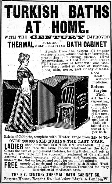 Black & white illustrated ad for home Turkish Baths manufactured by the K.Y. Century Thermal Bath Cabinet Company of Regent Street, London