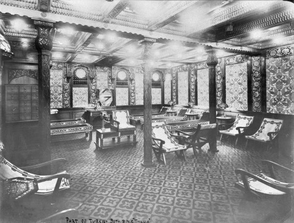 One of seven builder's photographs of the RMS Titanic interior, this one showing part of the Turkish Bath