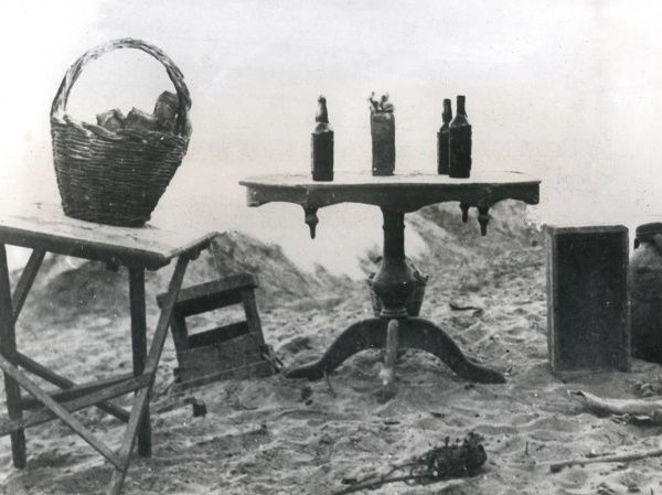 A Turkish booby trap, made to look inviting by the presence of food and drink, near Gaza, Palestine during the First World War. Date: September 1917