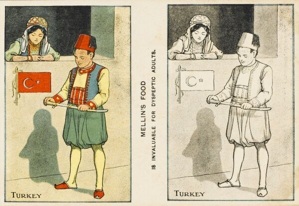 Advertisement for Mellin's Food - in stereo form (albeit a mix of b/w and colour) showing a Turkish boy and girl