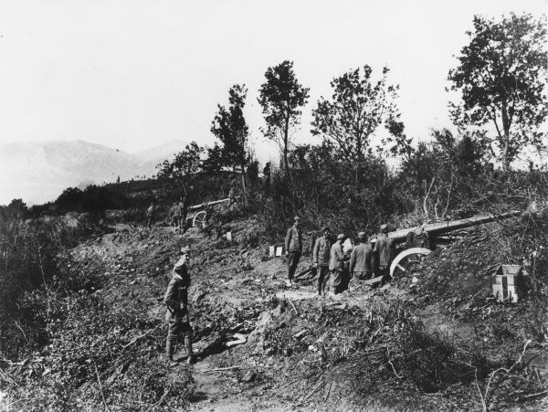 Cannon in position in Montenegro during World War I
