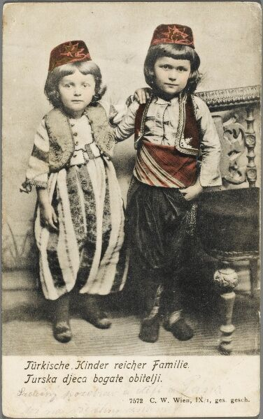 Two Turkish Bosnian children in traditional costume