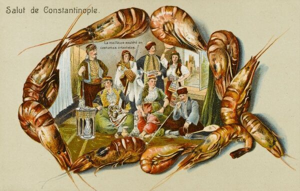 Up-market people from Constantinople, in Oriental costume - surrounded by a border of shrimps