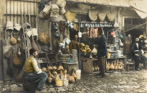 A Turkish general hardware store, selling jugs, pots, baskets, bags, rope, bowls, plates etc
