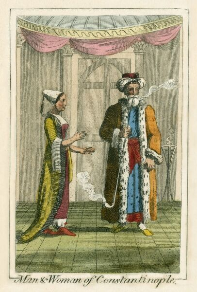 Turkish Man and Woman from Constantinople. A book of national types and costumes from the early 19th century