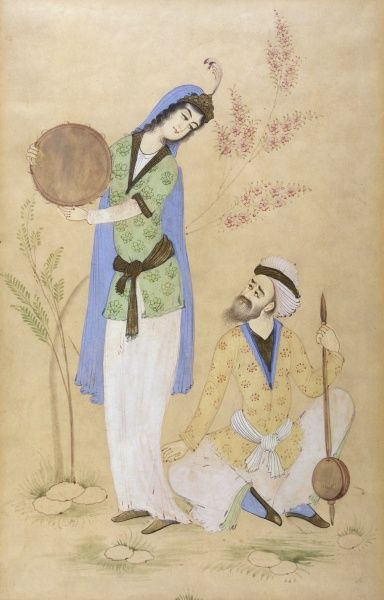 Turkish musicians : she shakes her tambourine, he listens enraptured (2 of 2) Date: 19th century
