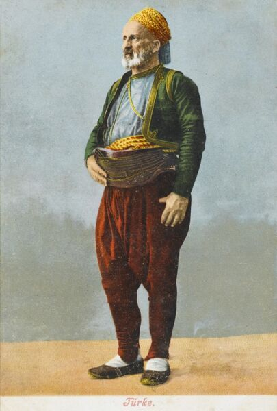 Typical Turkish working man - the leather supporting belt he is wearing suggests the man may be a porter