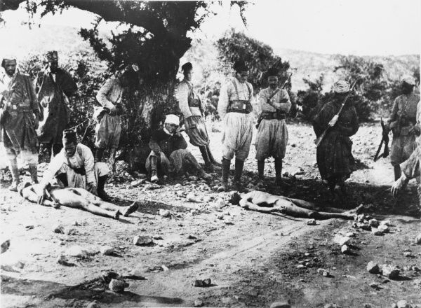 Turkish soldiers with casualities at Gallipoli during World War I