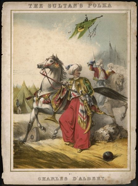 A Turkish sultan, depicted as a picturesque figure with his noble steed in the midst of battle