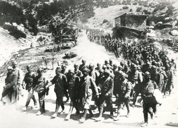Turkish troops marching in the Anatolian Mountains, Middle East, during the First World War. Date: 1915-1918