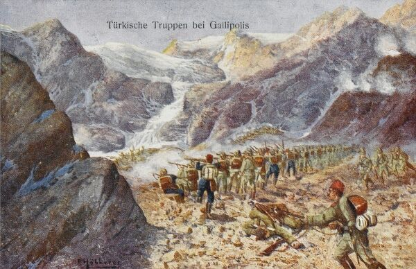 Turkish troops - Gallipoli - firing down on allied positions from high in the mountains