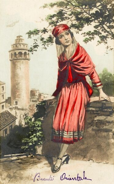 Turkish woman and the Galata Tower. Picture from a set of cards issued to reflect the fact that soon after Ataturk took over in Turkey in the 1920s, there was liberation by women from the old modes of dress. Instead of impenetrable veils, they wore lighter