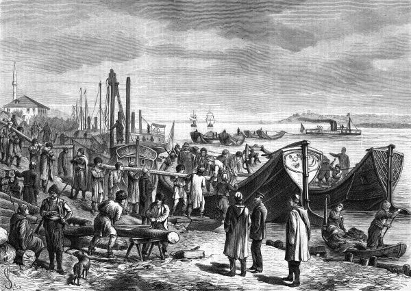 In the course of their war with Russia, the Turks build a bridge of boats to enable them to cross the Danube from Tschaiten to Widdin. Logs are laid from one boat to another. Date: 1877