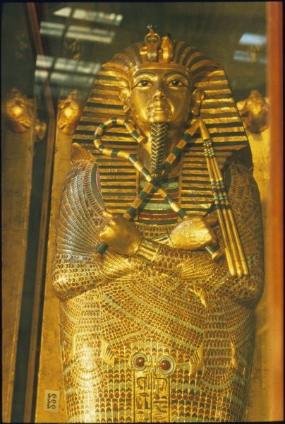 The sarcophagus of Pharoah TUTANKHAMUN, ruler of the 18th Dynasty of Egypt 1361 - 1352 BC, (Egyptian Museum, Cairo)