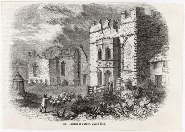 The Interior of the castle- yard. Mary Queen of Scots was held prisoner at Tutbury in 1569