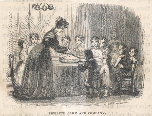 Mama serves the Twelfth Day Cake to a party of children