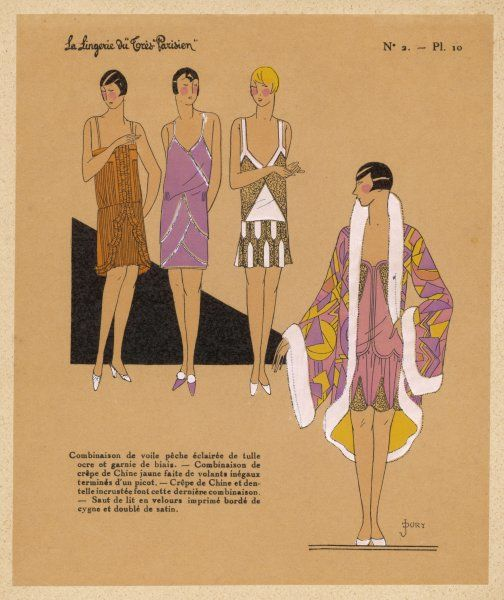 Pretty, short, low-waisted slips ornamented with lace, ruffle trim & pleating & panels & a fur trimmed housecoat or negligee in a bold geometric print