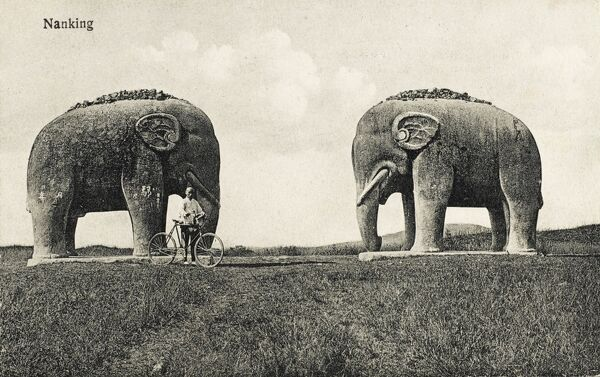 Twin stone Elephant statues close to the Ming Tomb at Nanjing, China. The Xiaoling Tomb in Nanjing is the final resting place of Emperor Hongwu of the Ming dynasty, who ruled China from 1368-1398