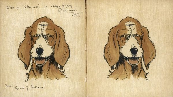 Twin puppies on the inside cover, with a handwritten inscription for Christmas 1910, the year the book was published
