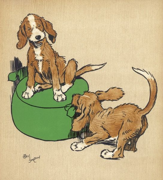Twin puppies, Snip and Snap, quarrel over who is going to have the footstool. The advice is, never be a twin if you can possibly help it