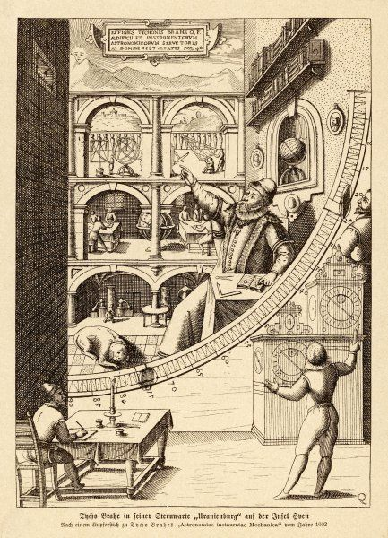 Tycho Brahe at work in his observatory at Uranienborg, Sweden 1576