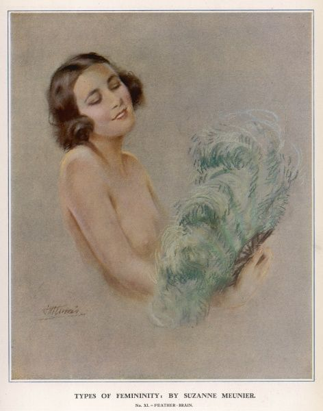 Half naked lady posed with a feathered fan. Suzanne Meunier was a French artist who produced a number of erotic illustrations for The Sketch and The Bystander during the 1920s and 30s