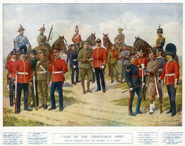 Types of the Territorial Army wearing their various uniforms including the Highland Light Infantry (far left), Rifle Brigade and Royal Engineers