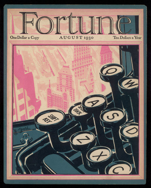 Typewriter keys on the cover of a magazine