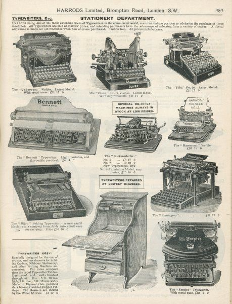 Various models of typewriter obtainable from Harrods&#39