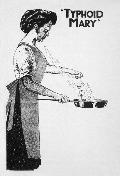 MARY MALLON, (1869-1938) known as 'Typhoid Mary' ; though herself healthy, she is a carrier of typhoid and, employed as a cook, infects 22, one of whom dies