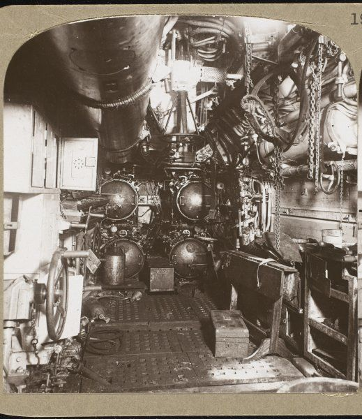 The interior of a German U- Boat