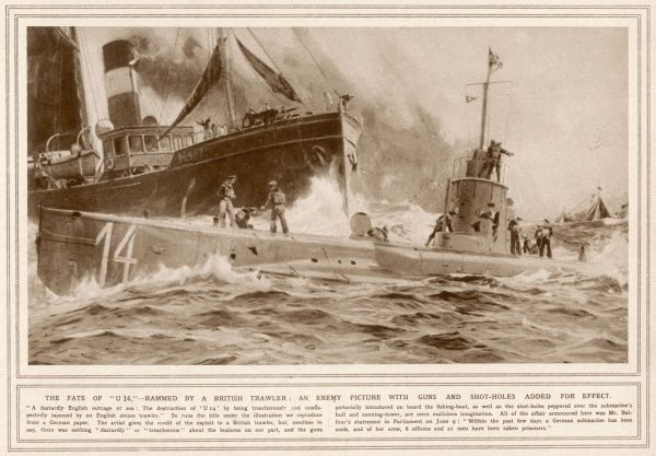 A German illustration depicting their version of events as submarine U 14 is sunk 'treacherously and unsuspectedly&#39