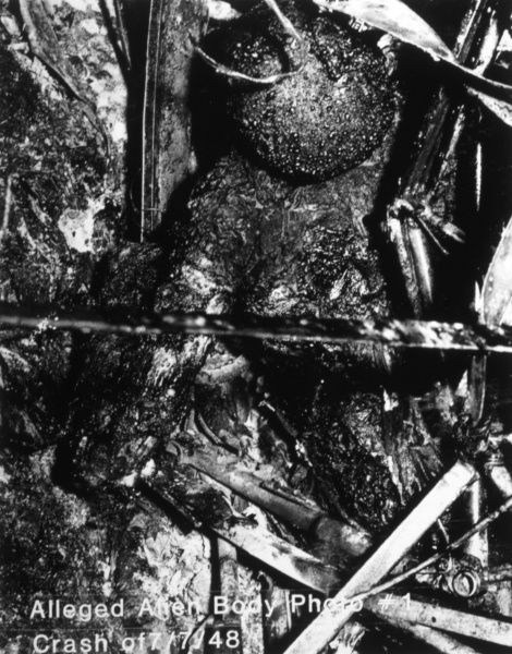 Alleged alien remains from a UFO crash near Aztec, New Mexico. Possibly a monkey used in a military rocket test which failed. Date: 7 July 1948