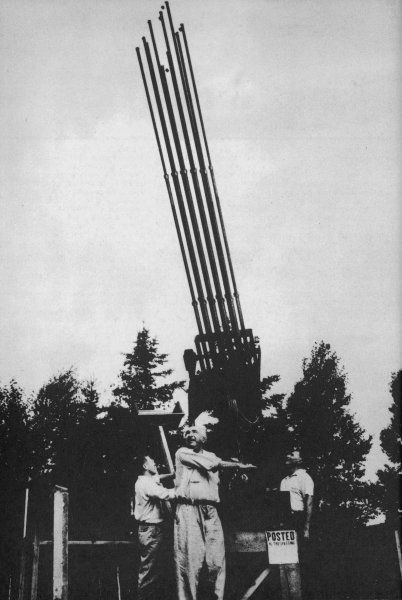 Wilhelm Reich finds that his weather-influencing devices also affect UFOs, and could perhaps destroy them ; here he is operating one of his instruments