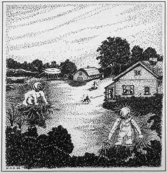 At Kelly, Hopkinsville, Kentucky, the Sutton family see small figures around their farm, fire on them, driving them away, and report in panic to the police