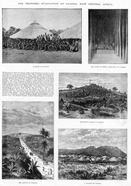 Various views of Uganda, clockwise from top right: 1. The grave of Mtesa, Late King of Uganda; 2. The King's Palace at Uganda; 3. A village of Uganda; 4. The capital of Uganda; 5. A group of natives. 1892