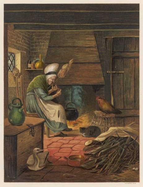 The old cottage woman, with her distaff and her animal companions : often such solitary females were suspected of witchcraft