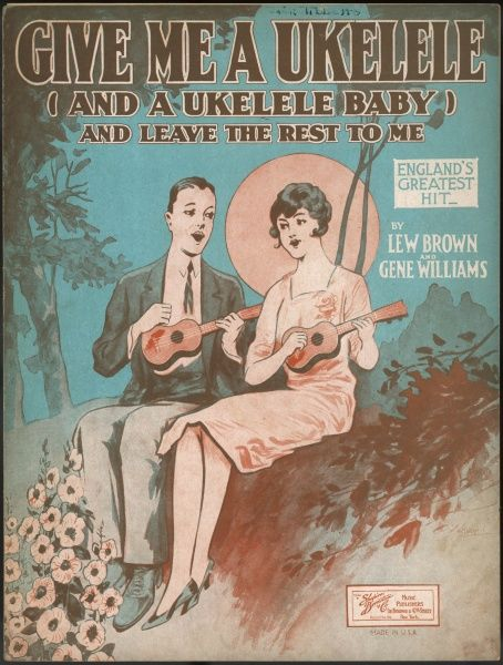 A happy couple singing by moonlight: 'Give me a ukulele... and a ukulele baby... and leave the rest to me...&#39